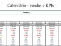 Calendário - vendas e KPIs